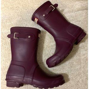 Grape Purple Size 7 Rubber Short Hunter Rain Boots